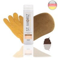 St. Moriz Lotion Medium 250 ml & Premium-Applikator & Horn-Peeling Handschuh