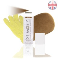 St. Moriz Spray Medium 150 ml & Premium-Applikator & Horn-Peeling Handschuh